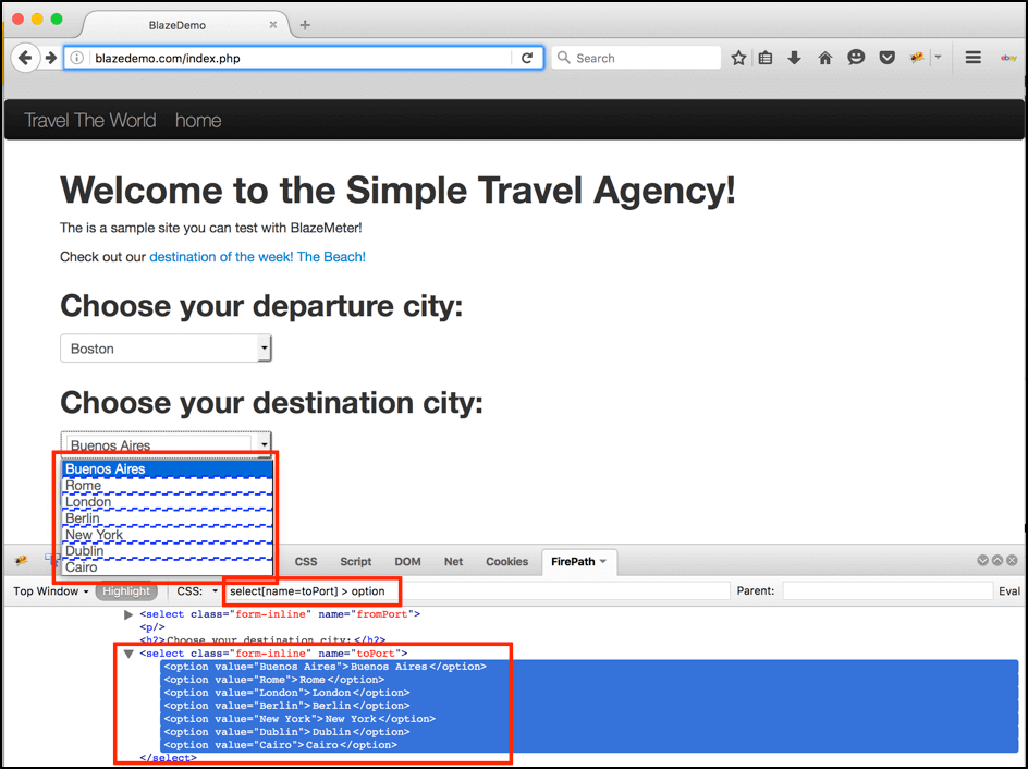 In the same way we can get destination cities: select[ data-cke-saved-name=toPort] name=toPort] > option