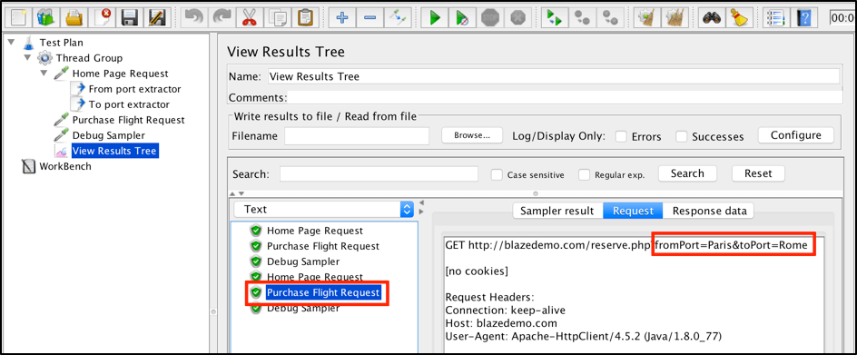 """In the """"View Results Tree"""" listener you will find different values for defined parameters in each subsequent execution of the script."""